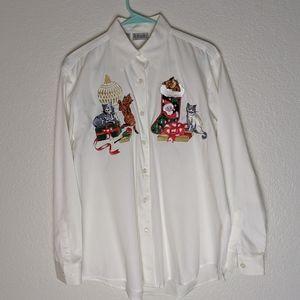 RAFAELLA white long sleeve Christmas cats shirt.